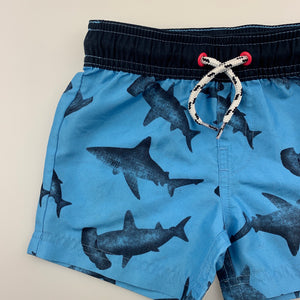 Boys Anko, lightweight shorts / board shorts, sharks, GUC, size 1