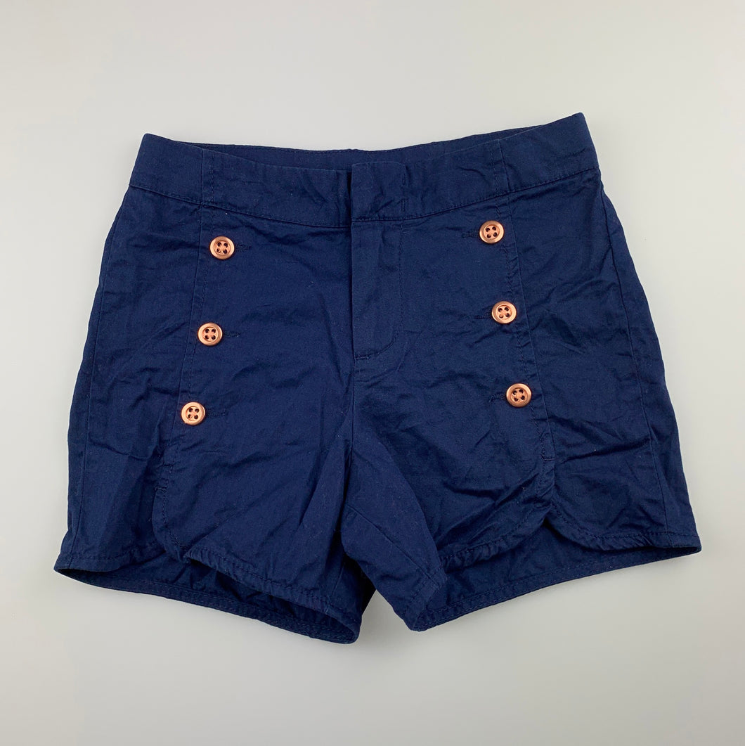 Girls Target, navy lightweight cotton shorts, adjustable, GUC, size 7