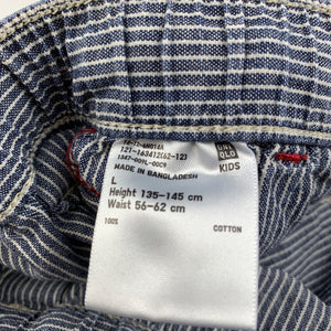 Boys Uniqlo, blue & white stripe cotton shorts, elasticated, GUC, size 10