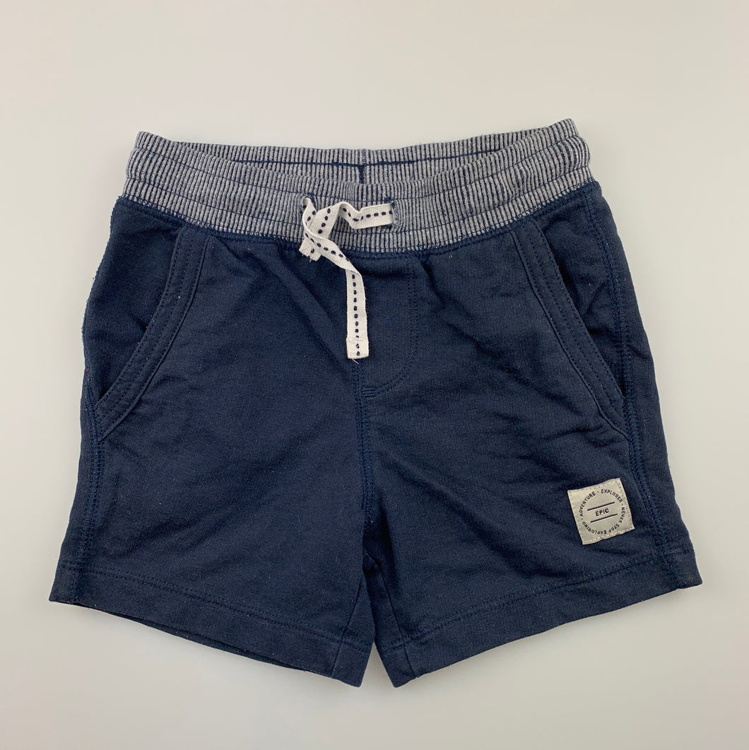 Boys Target, navy knit shorts, elasticated, GUC, size 2