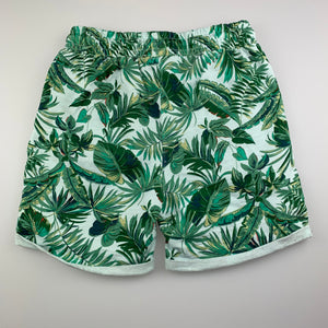Boys Cotton On, knit shorts, elasticated, palm leaves, FUC, size 9