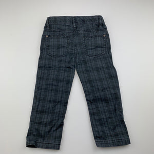 Boys Sprout, checked cotton pants, adjustable, Inside leg: 33cm, GUC, size 2