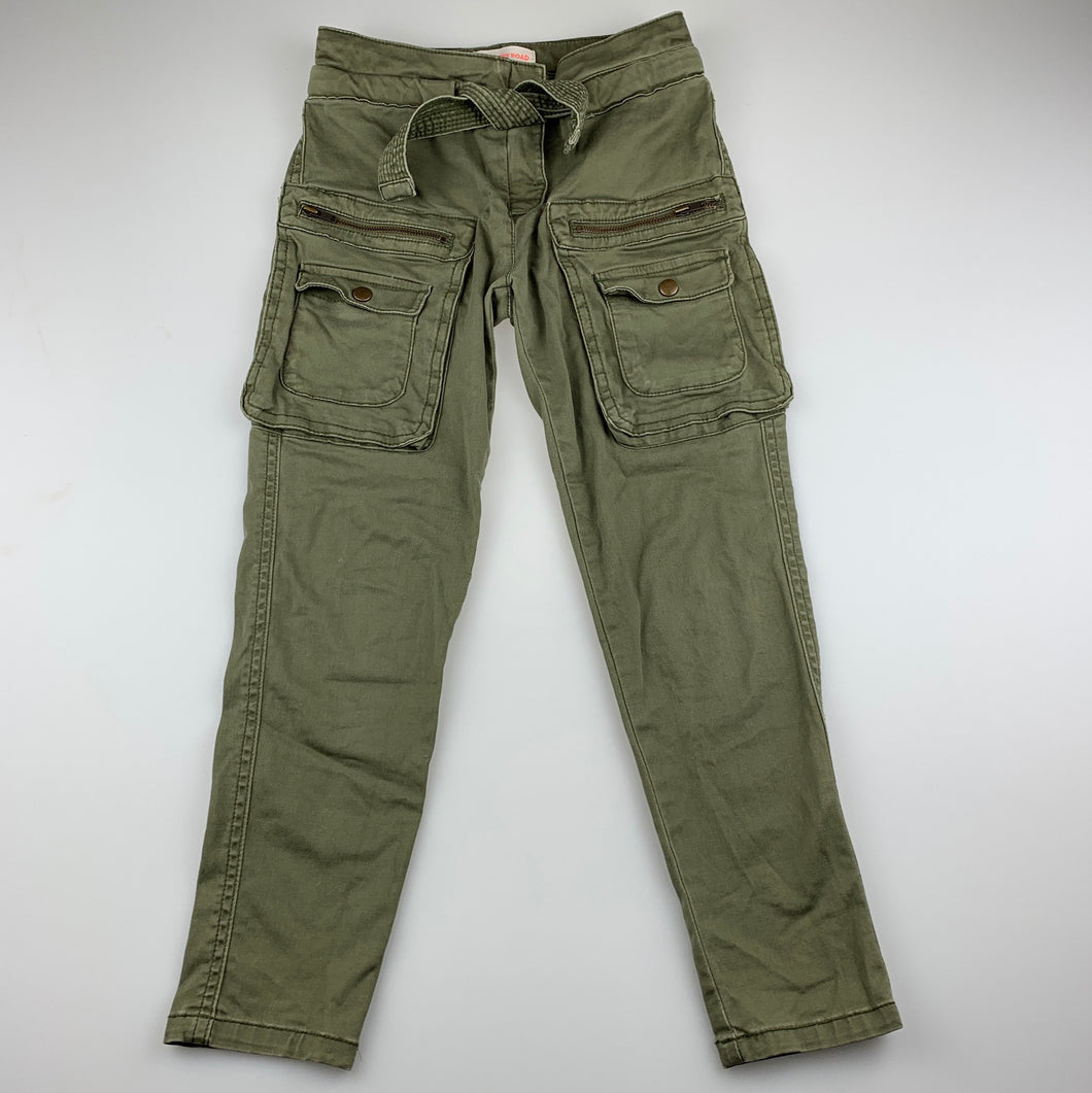Girls Country Road, khaki stretch cotton cargo pants, adjustable, Inside leg: 49cm, GUC, size 6