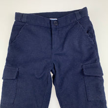 Load image into Gallery viewer, Boys Jacadi Paris, navy cotton lined soft feel cargo pants, adjustable, Inside leg: 29cm, FUC, size 1-2