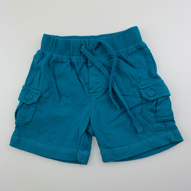 Boys Baby Berry, blue soft cotton cargo shorts, elasticated, GUC, size 000