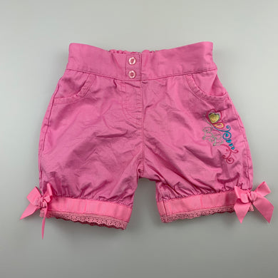 Girls Baby Baby, pink lightweight cotton shorts, elasticated, EUC, size 0