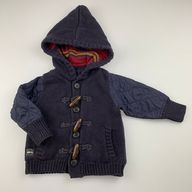 Boys ABCD Indie, lined navy cotton knit hoodie / jacket, GUC, size 0