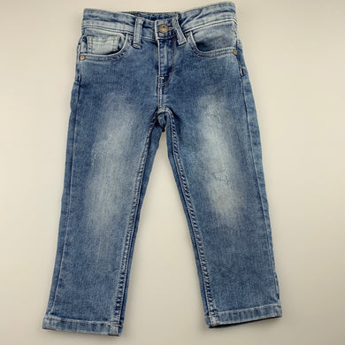 Unisex Benetton, distressed stretch denim jeans, adjustable, Inside leg: 33cm, FUC, size 2