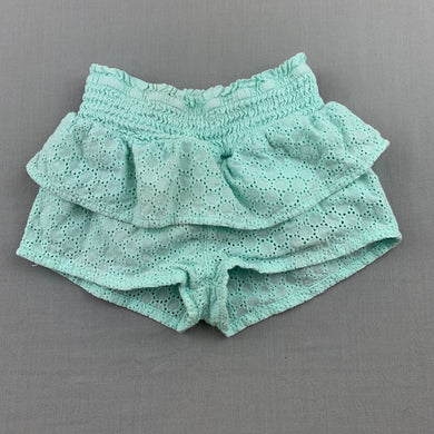 Girls Country Road, mint cotton lined broderie shorts, elasticated, GUC, size 0