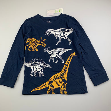 Boys Anko, navy cotton long sleeve t-shirt / top, dinosaurs, NEW, size 7