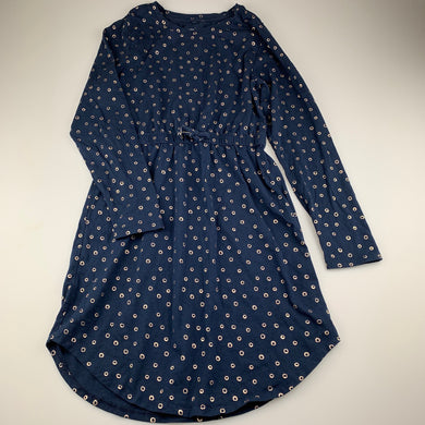 Girls Anko, navy cotton long sleeve casual dress, EUC, size 14