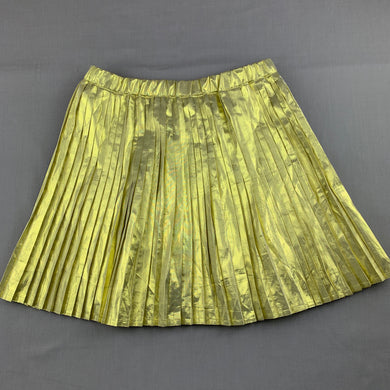 Girls B Collection, lightweight metallic gold pleated skirt, elasticated, GUC, size 10