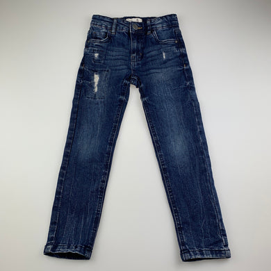 Unisex Cotton On, distressed stretch denim jeans, adjustable, Inside leg: 46cm, GUC, size 5