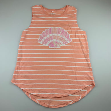 Girls Anko, peach cotton singlet / tank top, shell, GUC, size 14