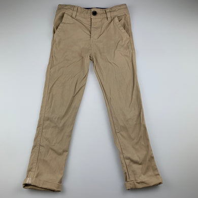 Boys B Collection, beige stretch cotton chino pants, adjustable, Inside leg: 45cm, EUC, size 5