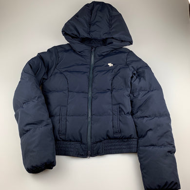 Girls Abercrombie, navy down / feather filled jacket / coat, Size: L, armpit to armpit: 43cm, armpit to wrist/cuff: 47cm, GUC, size 10-12