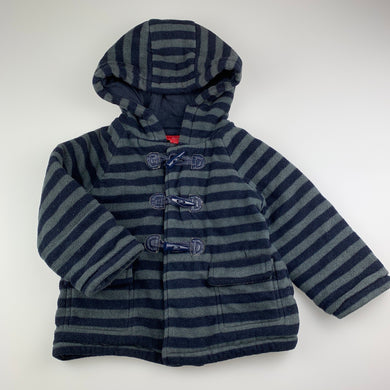 Boys Sprout, grey & navy fleece jacket / coat, GUC, size 2