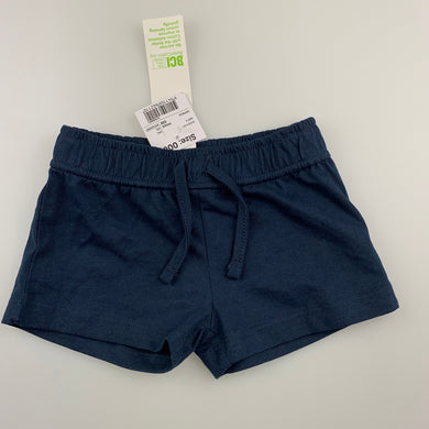 Unisex Anko Baby, navy soft cotton shorts, elasticated, NEW, size 000