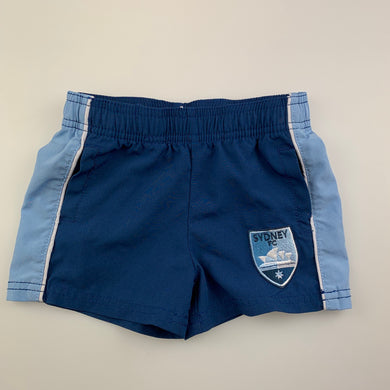 Unisex A-League Official, Sydney FC lightweight shorts, elasticated, EUC, size 0
