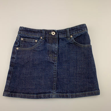 Girls Seed, dark blue stretch denim skirt, elasticated, FUC, size 7-8