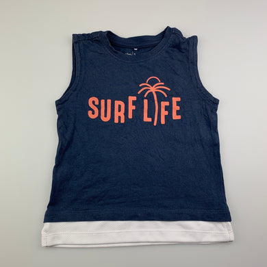 Boys Anko, navy cotton singlet top, surf, GUC, size 1