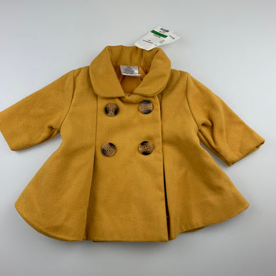 Girls Baby Baby, adorable mustard jacket / coat, NEW, size 000