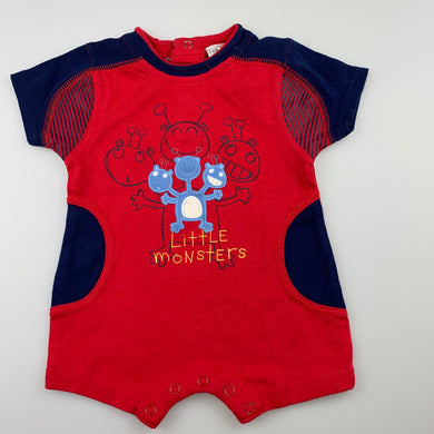 Boys Baby Baby, red cotton romper, monsters, EUC, size 0000