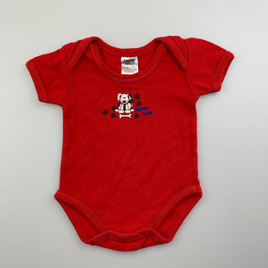 Boys Baby Biz, red cotton bodysuit / romper, dog, EUC, size 0000