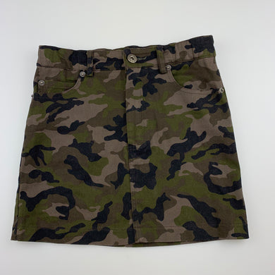 Girls Bardot Junior, camo print stretch cotton skirt, adjustable, EUC, size 10