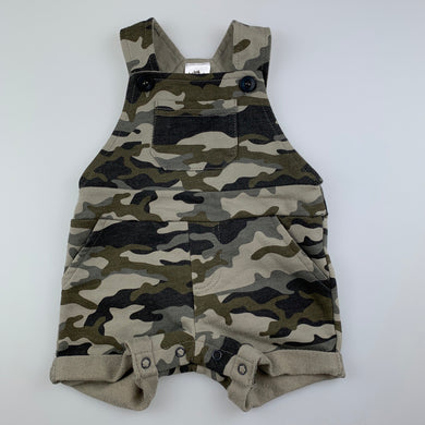 Boys Baby Berry, soft feel camo print overalls, EUC, size 0000
