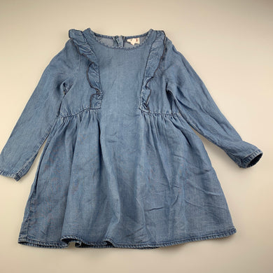 Girls Seed, blue lyocell long sleeve casual dress, GUC, size 2-3