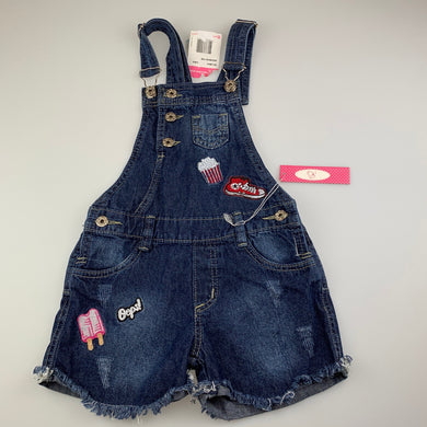 Girls AK Jeans, distressed denim overalls / shortalls, popcorn, NEW, size 8