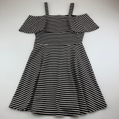 Girls Bardot Junior, black & white stripe party dress, L: 77cm, EUC, size 14