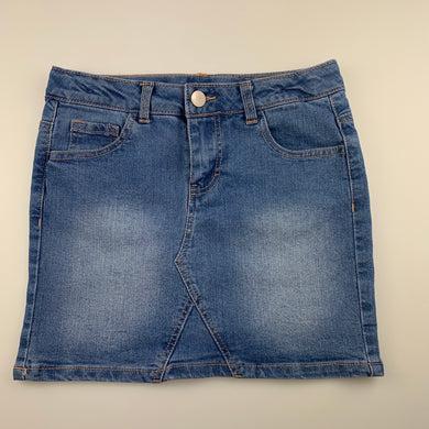 Girls Clothing & Co, blue stretch denim skirt, adjustable, EUC, size 10