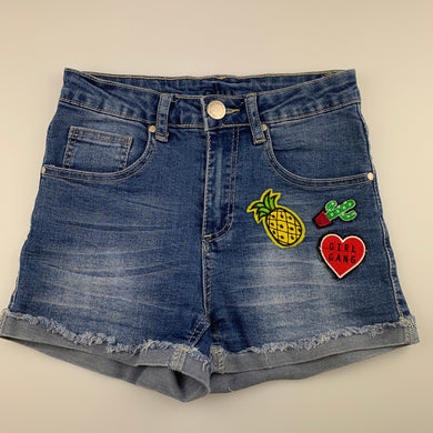Girls Ally, stretch denim jean shorts, W: 60cm, GUC, size 7