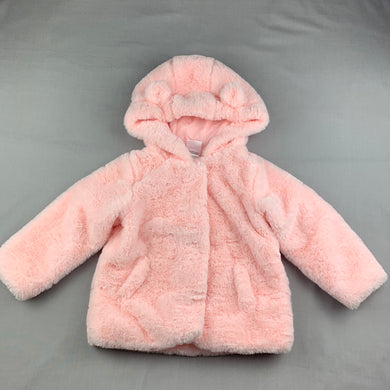 Girls Sprout, cotton lined soft faux fur hooded jacket / coat, EUC, size 2