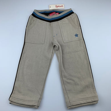 Boys Sprout, fleece lined track / sweat pants, elasticated, NEW, size 2