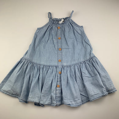 Girls Cotton On, blue chambray cotton casual dress, light mark lower back left, FUC, size 2
