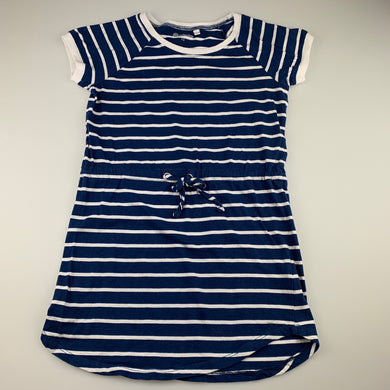 Girls B Collection, blue & white stripe cotton dress, L: 63cm, FUC, size 10