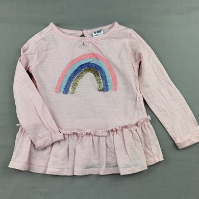 Girls Anko, pink cotton long sleeve top, rainbow, GUC, size 1