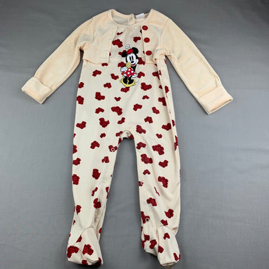Girls Disney Baby, Minnie Mouse coverall / romper, marks on left arm, FUC, size 2
