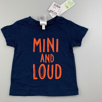 Unisex Anko Baby, navy cotton t-shirt / top, NEW, size 0000