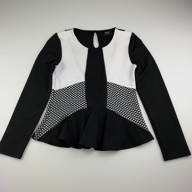 Girls Bardot Junior, black & white stretchy long sleeve peplum top, GUC, size 12