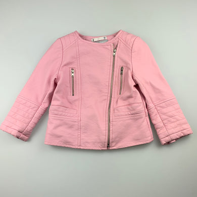 Girls Target, pink faux leather zip-up jacket, FUC, size 2