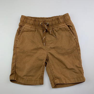 Boys Pumpkin Patch, tan cotton shorts, elasticated, FUC, size 2