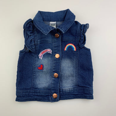 Girls Ackermans Baby Co, cute stretch denim vest / jacket, GUC, size 00