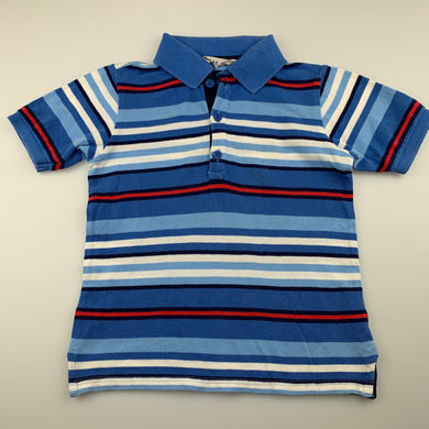 Boys BeeBay, blue stripe cotton polo shirt / top, GUC, size 5