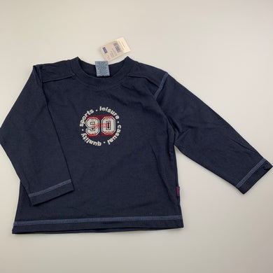 Boys Pumpkin Patch, navy cotton long sleeve t-shirt / top, NEW, size 2