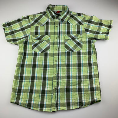 Boys Brooklyn Industries, green check lightweight cotton shirt, GUC, size 14