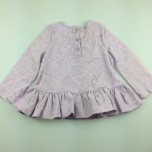 Load image into Gallery viewer, Girls Pumpkin Patch, lilac lace long sleeve top, EUC, size 1